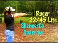 Girl's first time SHOOTING Suppressed, Ruger 22/45 Lite with SilencerCo Sparrow & Hank Strange