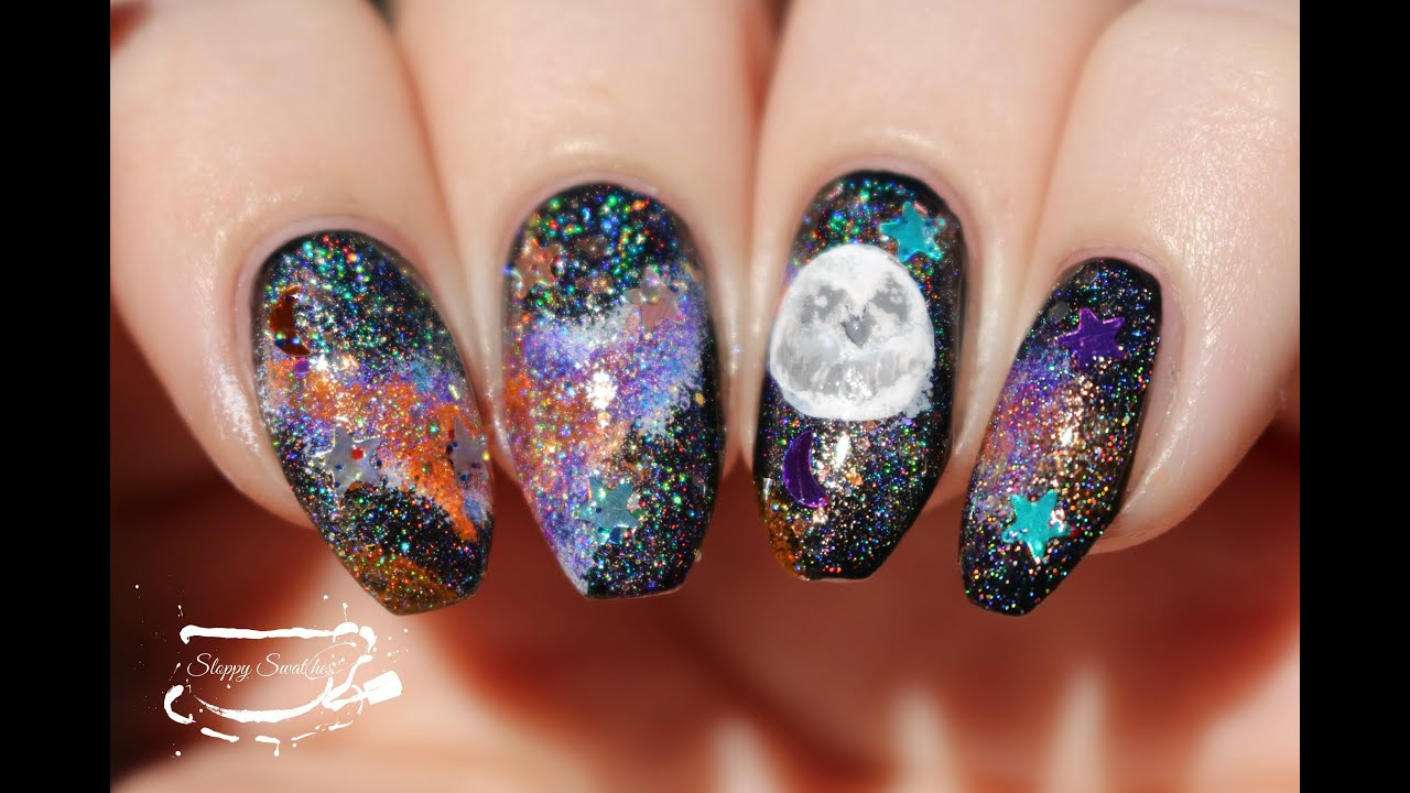 NailArt | WNAC2015 Halloween Galaxy Nail Tutorial - YouTube