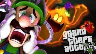 Luigi's Mansion HAUNTS Los Santos MOD w/ Luigi & Ghost (GTA 5 PC Mods Gameplay)