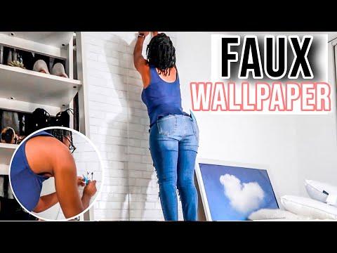 DIY Faux Wallpaper Install - Renter Friendly - Textured Brick Faux Wallpaper