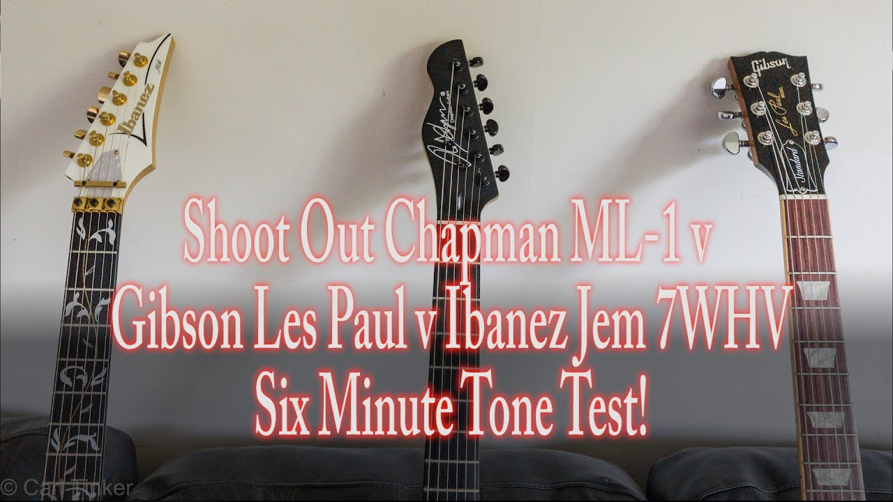 shoot out chapman ml 1 v gibson les paul v ibanez jem 7whv six