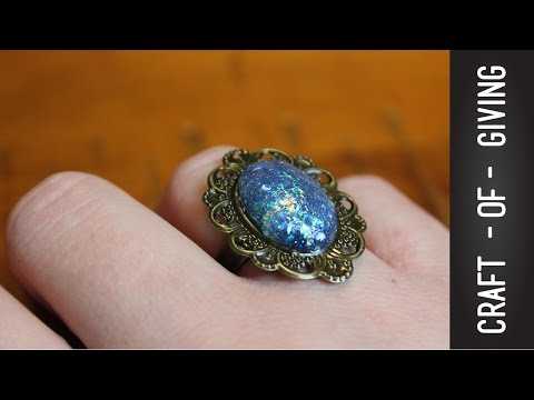 DIY Hot Glue Faux Opal Ring | Craft of Giving
