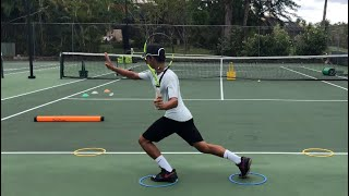 Working on the return of serve and the correct footwork. Tennis training with coach Brian Dabul