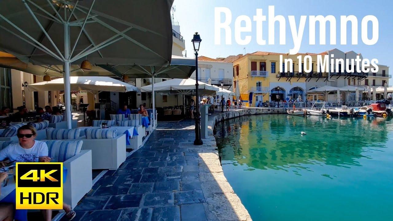 Rethymno, Greece In 10 Minutes 4K-HDR Walking Tour - 2021 - Tourister Tours