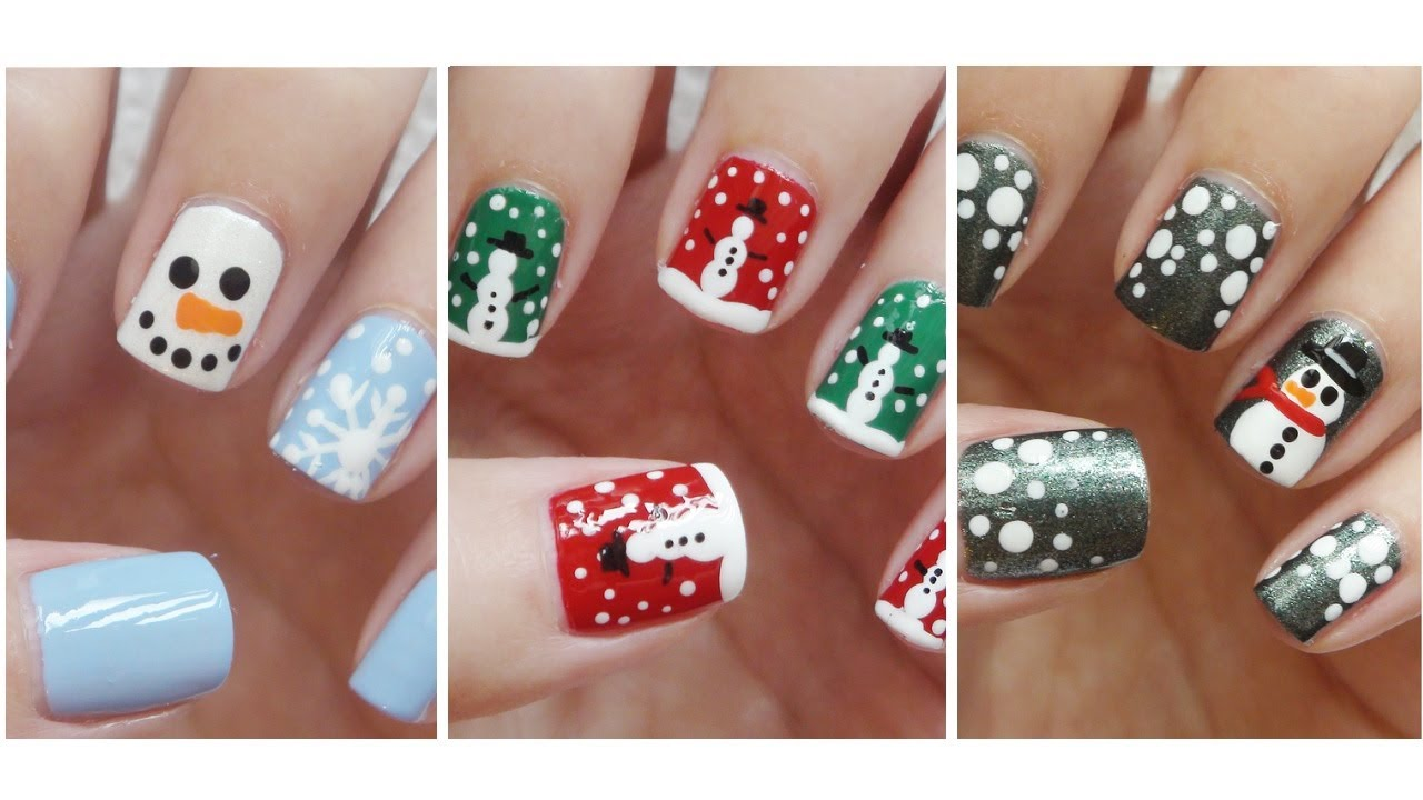 Snowman nail art three easy designs youtube prinsesfo Images
