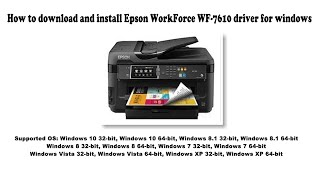 How To Download And Install Epson Workforce Wf 7610 Driver Windows 10 8 1 8 7 Vista Xp Youtube