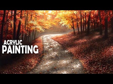 How to Paint a Country Road in the Forest | Acrylic Painting