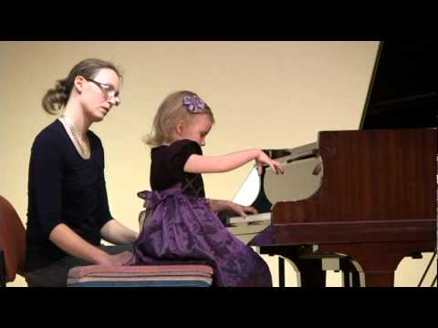 Suzuki Piano Book 1, First Piano Recital, Ieva Stalyga (age 3), Up-close view
