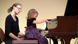 Suzuki Piano Book 1, First Piano Recital, Ieva Stalyga (age 3), Up-close view