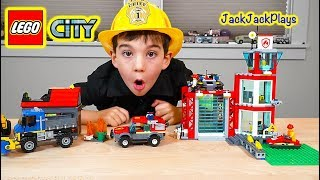 Pretend Play Firefighters with Lego City Fire Station and Trucks