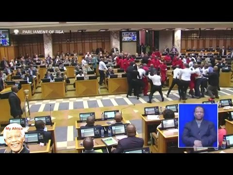BIG Fight In Parliament.  Malema & EFF Removed By Force Again