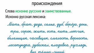 Лексика русского языка с точки зрения происхождения (5 класс, видеоурок-презентация)