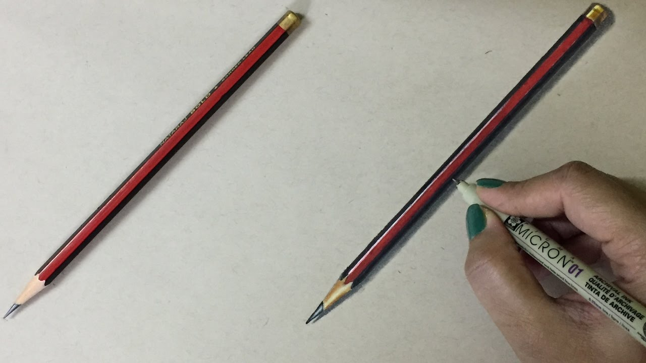 How to draw a PENCIL for kids - YouTube