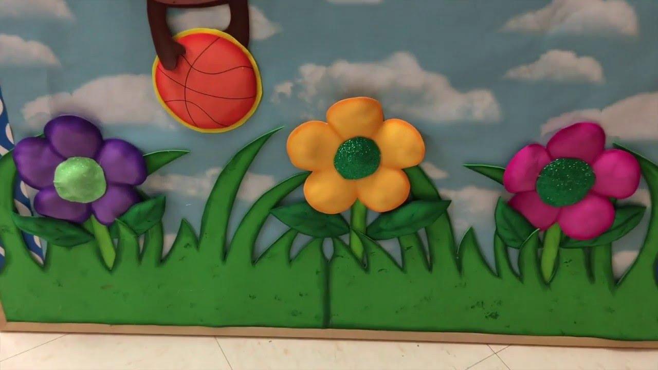 Manualidades con foami o gomaeva pasto hojas y flor youtube - Como hacer un arbol de papel grande ...