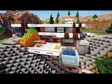 Minecraft maison moderne sur falaise youtube for Maison contemporaine de luxe