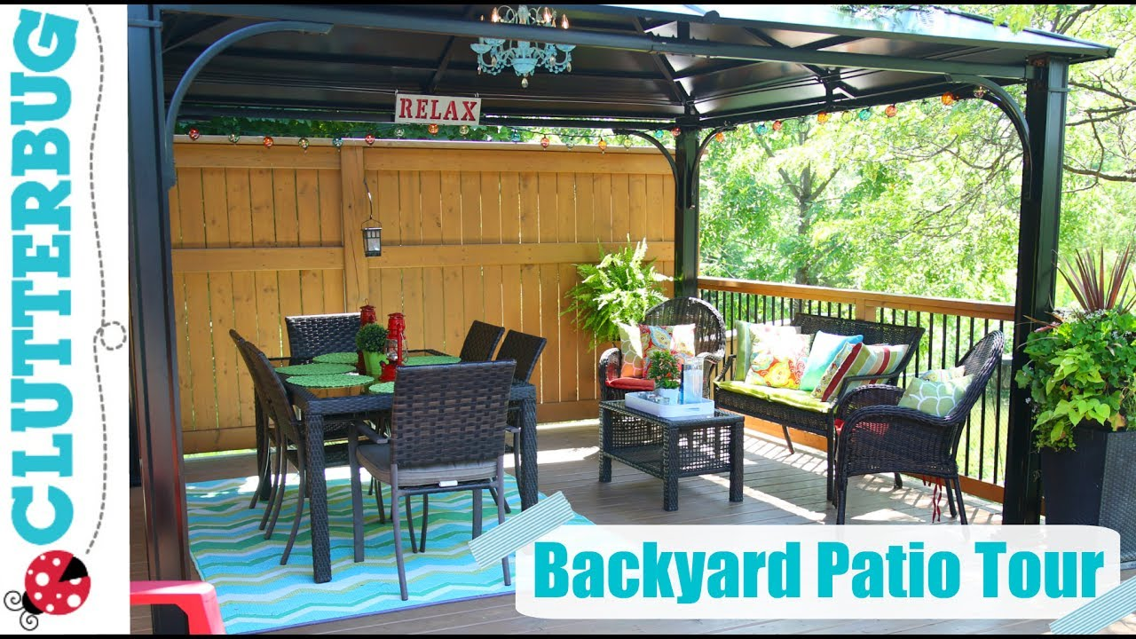 Backyard Patio Decorating Ideas, Tips and Tour - YouTube on Backyard Deck Decor id=49411