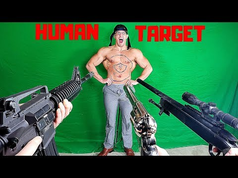 Painful HUMAN TARGET Shooting Competition | Bodybuilder VS Airsoft Guns and Sniper