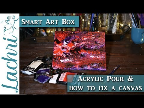 Acrylic Pour &  How to fix a dented canvas - Lachri
