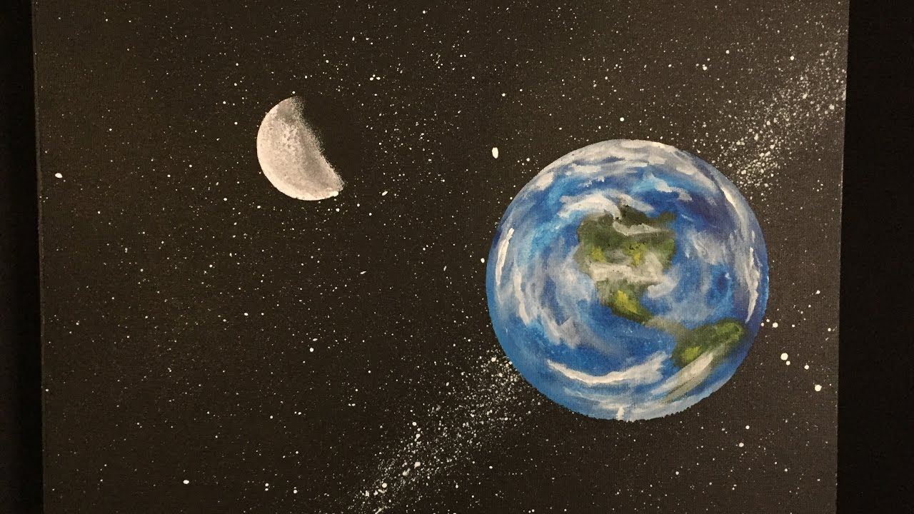 "#88. How to paint planet earth (Tutorial) ""Acrylic"" - YouTube Earth Painting Oil"