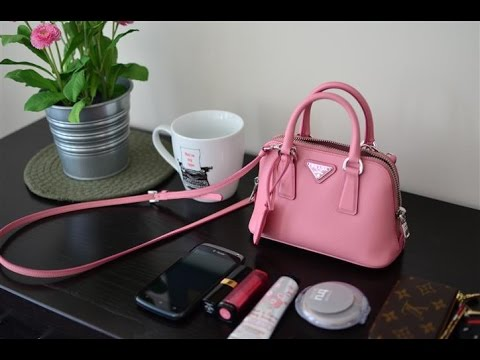 Pink Prada Mini Micro Bag Initial Review - What's in my bag?