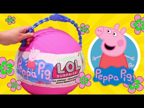 Yay Peppa Pig ! Toys and Dolls Fun with *Customized* LOL Big Surprise Ball Blind Bags & Surprises