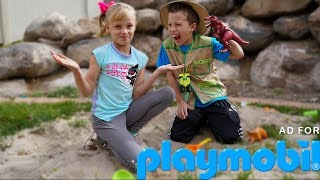 Paxton and Payton go on a DINOSAUR Adventure! Playmobil