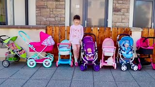 Wow How Many Prams Baby Born Baby Annabell Have? Baby Dolls Going Out In Dolls Pram Stroller Time