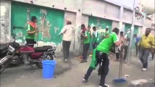 بالفيديو.. جماهير بورسعيد تنظف استاد النادي المصري