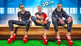 Boys in heels 30 cm !! who LAST TAKES A HEEL, will receive $ 1000 !!! CHALLENGE!
