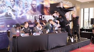 UNBELIEVABLE!!! - DERECK CHISORA LAUNCHES TABLE AT DILLIAN WHYTE IN MIDDLE OF PRESS CONFERENCE
