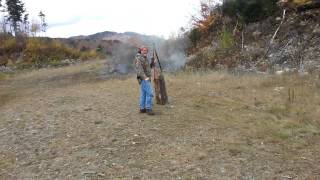 Steve Shooting 2 Lb Tannerite Target With Wood Piled On Top.