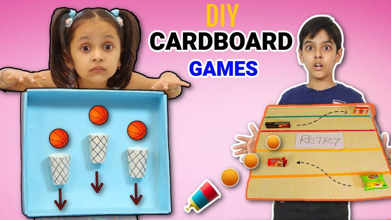 Kids Pretend Play DIY Indoor CARDBOARD Games | ToyStars