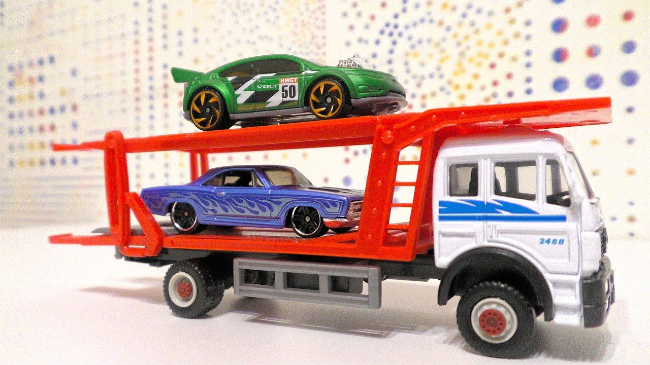 Small Toy Cars Transported by Car Transporters for kids