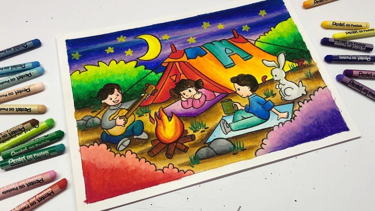 Cara Menggambar Dan Mewarnai Gradasi Suasana Kemah Langit Malam