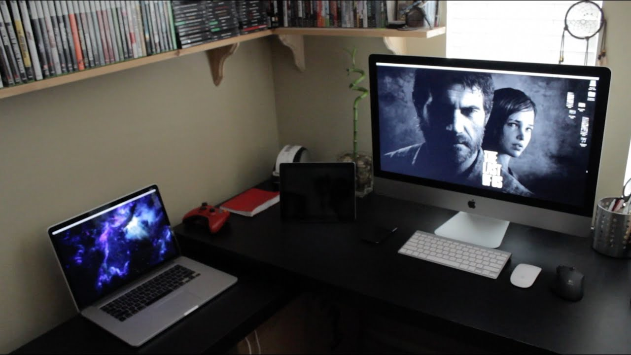 My mac desk tour gaming setup home office 2013 youtube How to make a gaming setup in your room
