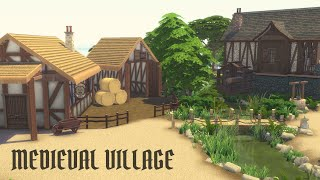 ENTIRE MEDIEVAL VILLAGE Sims 4 Speed Build no cc Tudor Village Watermill, Bakery \u0026 Blacksmith's