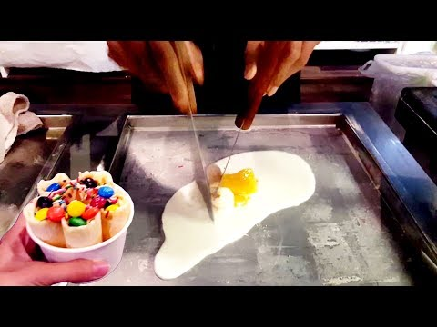ICE CREAM ROLLS | Mango, Lychee and m&m / Fried Thailand Ice Cream rolled in Singapore