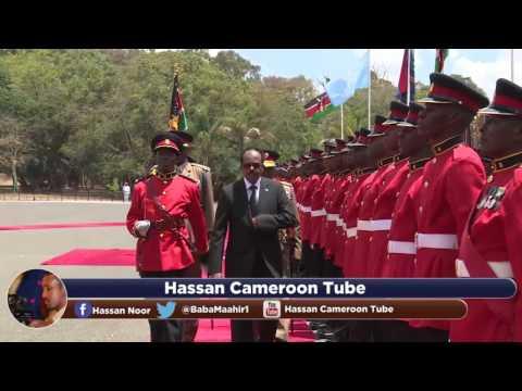 Farmajo Receives 21 gun salutes at State House Kenya