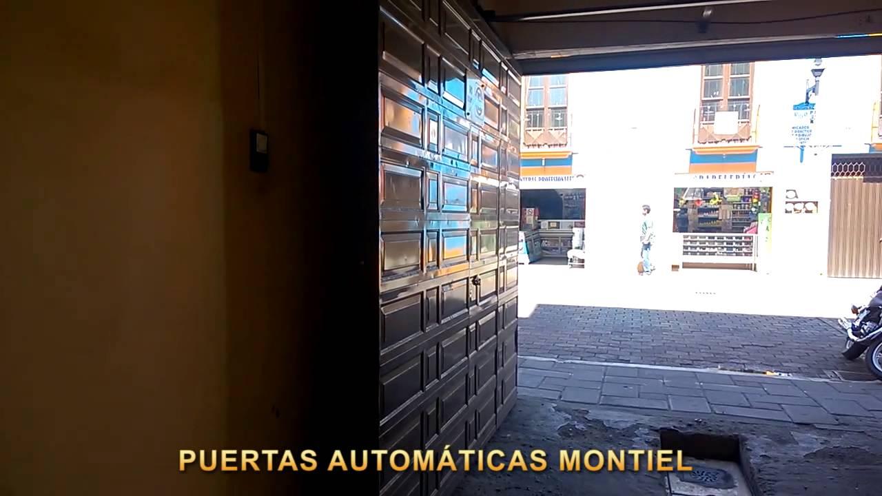 Puerta autom tica abatible hacia adentro con motor de for Motor puerta automatica