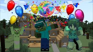 FRIENDLY ZOMBIE MARKS HAVES A PARTY AROUND HIS HOUSE In Minecraft!!