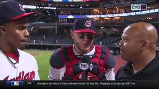 Francisco Lindor & Roberto Perez after Indians score 13 unanswered runs for comeback win
