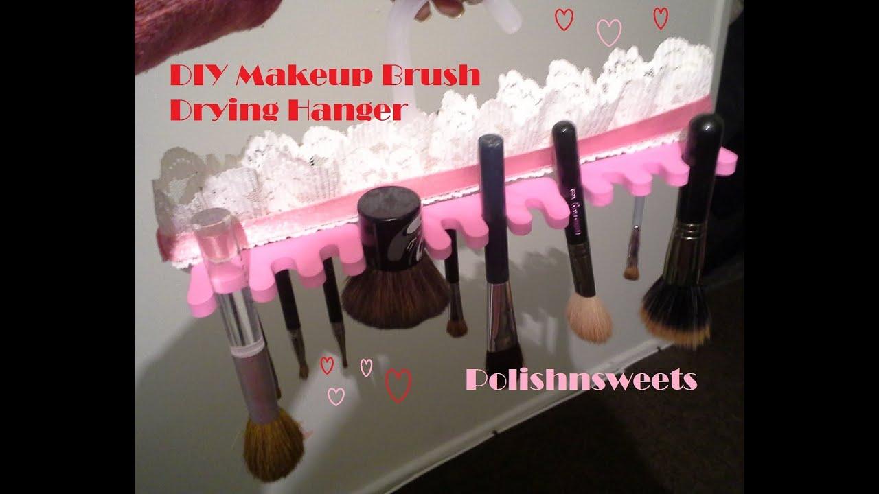 diy makeup brush drying hanger youtube. Black Bedroom Furniture Sets. Home Design Ideas