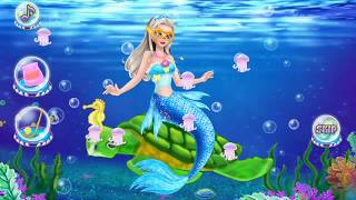 Mermaid frozen Elsa playing in the sea game for kids