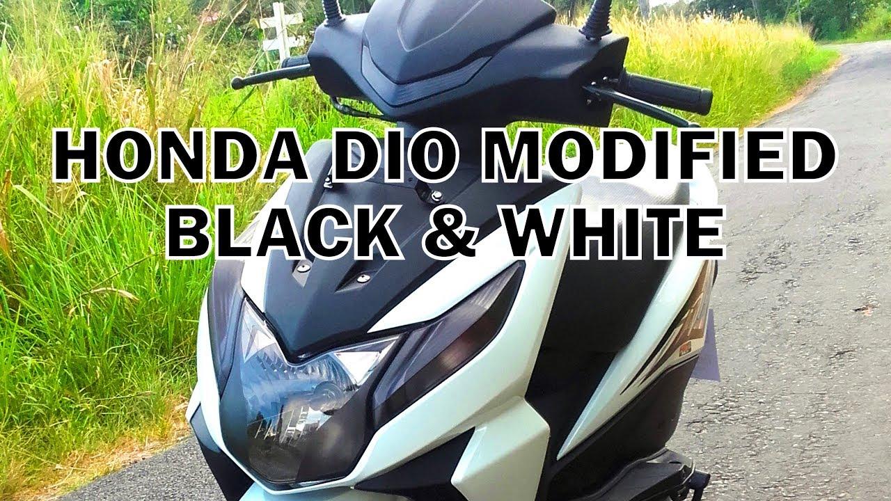 Honda dio modified black white stickers krishantha stickes ks production