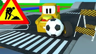 Construction Street Vehicles | Soccer Ball Wheel on the Road With Dump Truck - Friends on Wheels EP1