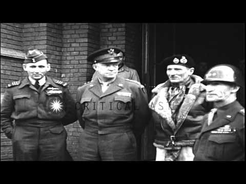 US Army General Dwight Eisenhower and British Field Marshal Bernard Montgomery at...HD Stock Footage