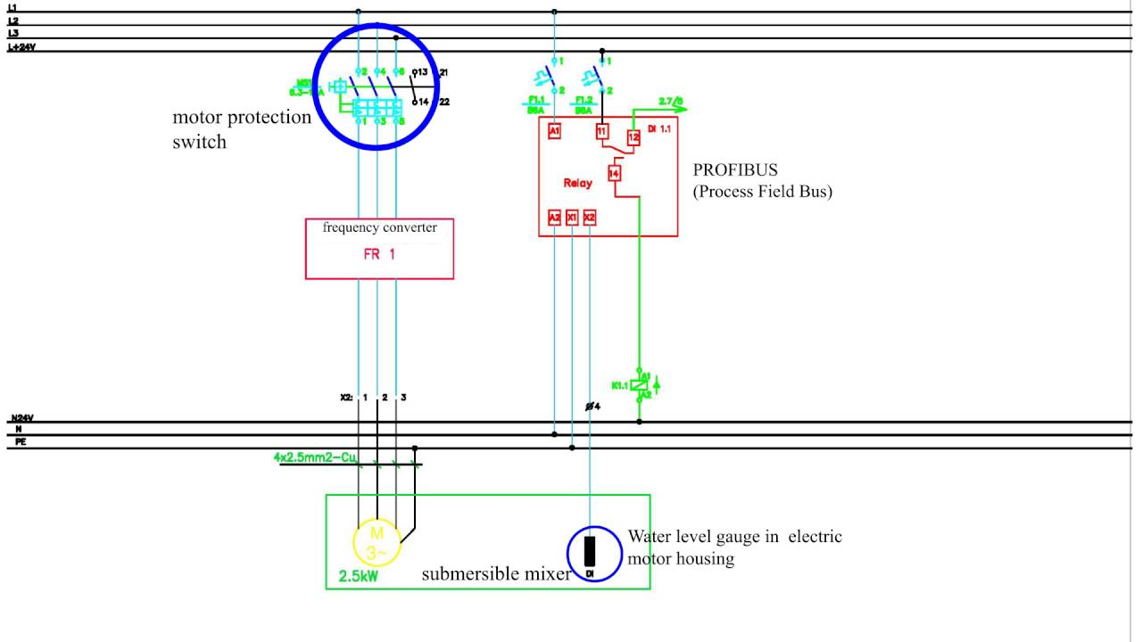 3 Phase electric motor  connection scheme to power grid (Motor protection switch, Profibus