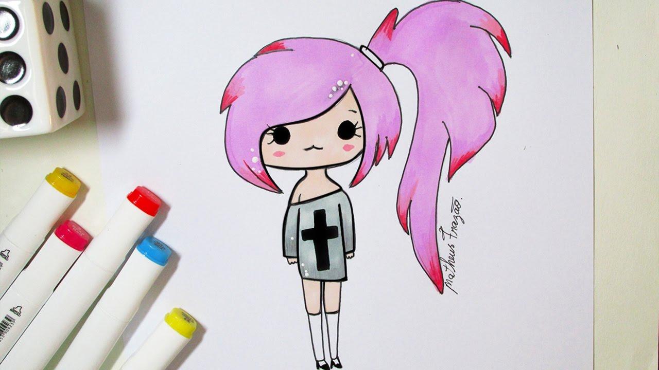 Desenhos Tumblr De Mão Estalando Como Fazer: Como Desenhar Bonequinha Tumblr #2 Passo A Passo