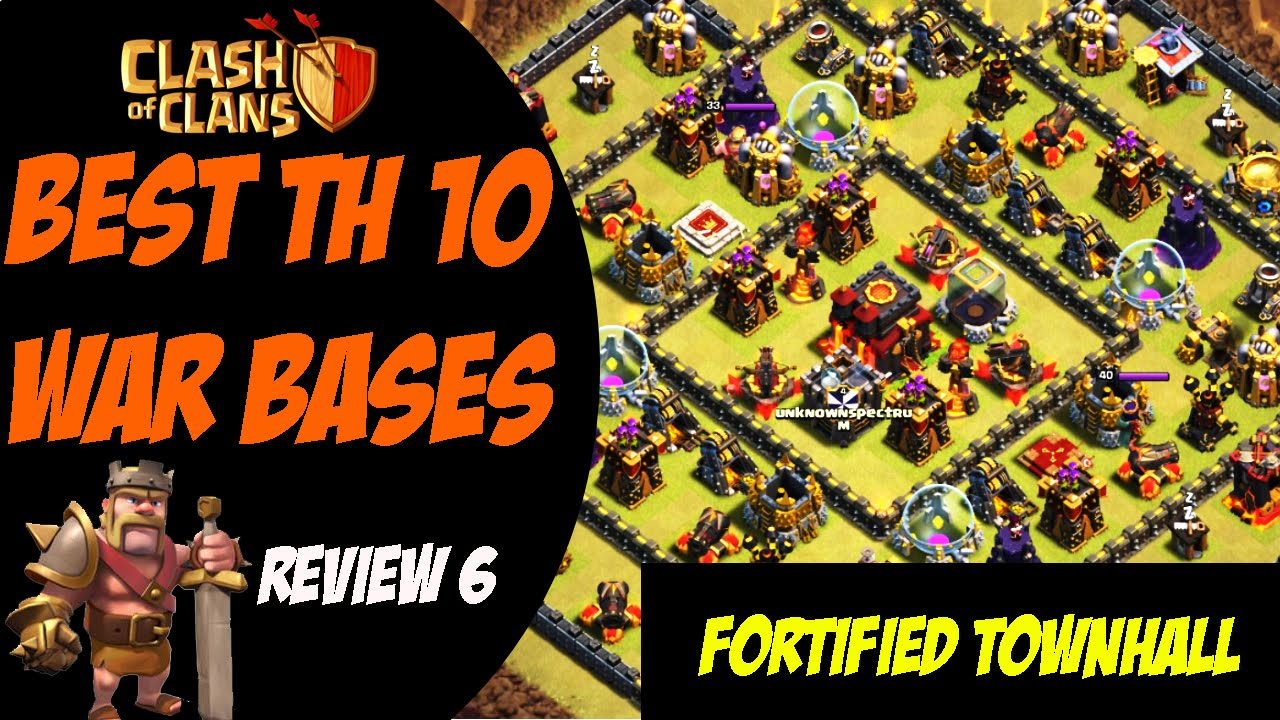 Clash of clans best th 10 war base design quot fortified townhall quot 6