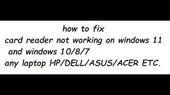 how to fix card reader not working on window 10 2018